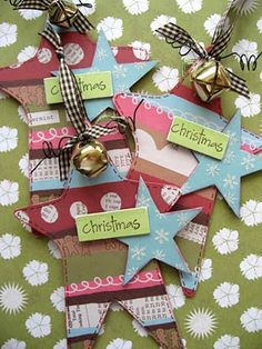 AWESOME use for old Christmas cards - make ornaments or gift tags!  LOVE, LOVE, LOVE!