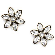 Heidi Daus Swarovski Crystal & Rhinestone Floral Studs ($46) ❤ liked on Polyvore featuring jewelry, earrings, black, rhinestone jewelry, swarovski crystals earrings, rhinestone stud earrings, heidi daus jewelry and floral stud earrings