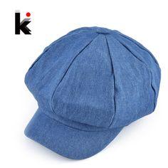 7a8f7c35b2b Promotion price 2017 Popular design newsboy caps womens fashion washed denim  casual hat octagonal cap autumn