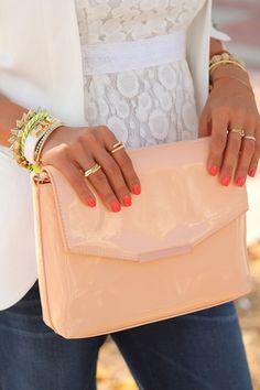 Peach Clutch. Nails. Rings. Bracelets.
