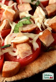 Looking for a fun new way to change up pizza night? Try adding some delicious Hillshire Farm Chicken Smoked Sausage! Get the recipe for Chicken Margherita Pita Pizza and plenty more here!