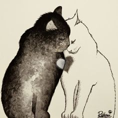 """TWO CATS ONE HEART"" Original painting available now Painting: http://ift.tt/1dFMdtx Fine art print: http://ift.tt/1dFMdtA"