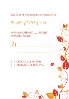 Autumn Foliage Wedding RSVP For customizations: printableinvitationkits[at]gmail[dot]com