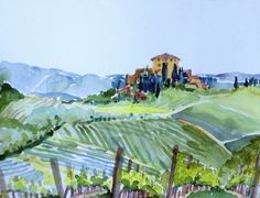 Tuscany Country 12x16 Watercolor