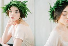 Add a couple flowers here and there in white or cream Fern floral crown DIY Tutorial