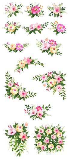 Watercolor clipart Roses Flower clipart Floral Watercolor, Flower Bouquets