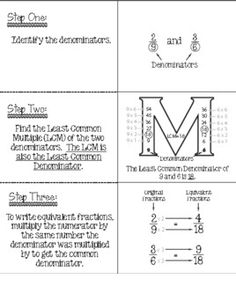 LCD LCM notes-Fraction Attraction Pack: Least Common Denominator and Equ Learning Fractions, Math Fractions, Teaching Math, Equivalent Fractions, Fractions Worksheets, Multiplication, Math Strategies, Math Resources, Least Common Denominator