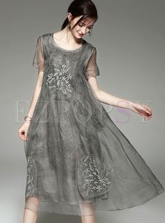 Shop for high quality Vintage Embroidery Perspective Shift Dress online at cheap prices and discover fashion at Ezpopsy.com