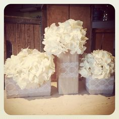square vase trio wrapped in ivory linen and lace