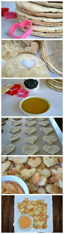 Inspired Wives: Heart shaped pita chips.  Share the love with these cute chips