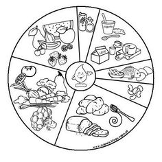New Food Wheel - Coloring Pages - Paper Toys Preschool Education, Preschool Crafts, Preschool Activities, Coloring Books, Coloring Pages, Food Pyramid, English Fun, Health Lessons, Group Meals