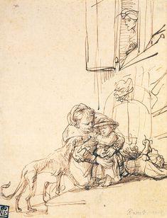 Two Studies of a Baby with a Bottle, Rembrandt van Rijn\  A WOMAN WITH A CHILD FRIGHTENED BY A DOG 1636 18.4 x 14.6 cm. Szépmüvészeti Múzeum, Budapest