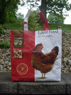 Recycled Feed Sack Chicken Food Red Hen Reusable Market Bag Tote Purse on Etsy, $15.00