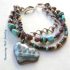 Valentines Gift Heart Bracelet Boho Southwestern Handmade
