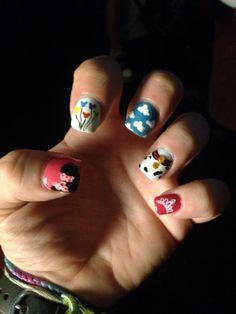 Disney nails!  #disney #nails #nailart #toystory #minnie #princesses  #101dalmations #mickeyballoons