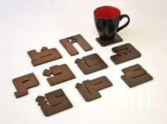 Coasters in the shape of Arabic letters.