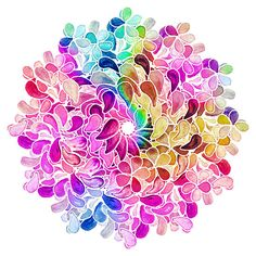 Rainbow Watercolor Paisley Flower by Micklyn