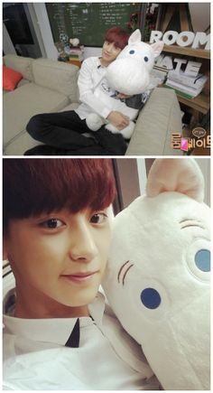 chanyeol with poong poong >_