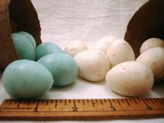 Package of THREE robins egg blue speckled egg shaped soap - Etsy shopfunsoap $4.95