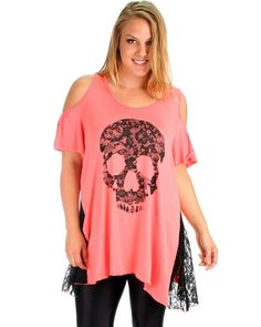 Coral Plus Size Open Shoulder Skull Top - Abodin.com $12.97