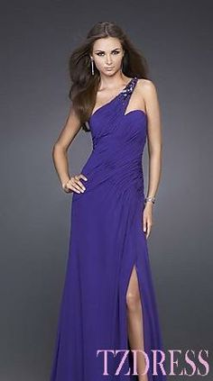 Elegant Natural One-Shoulder Chiffon A-Line Evening Dress