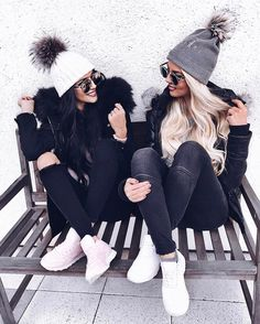Selina (@selingga) friends beanies pom poms jeans warm clothing winter weather fashion style