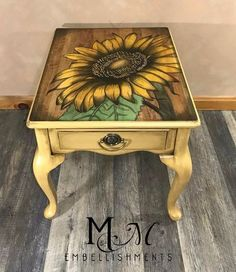 stained art sunflower table no paint!