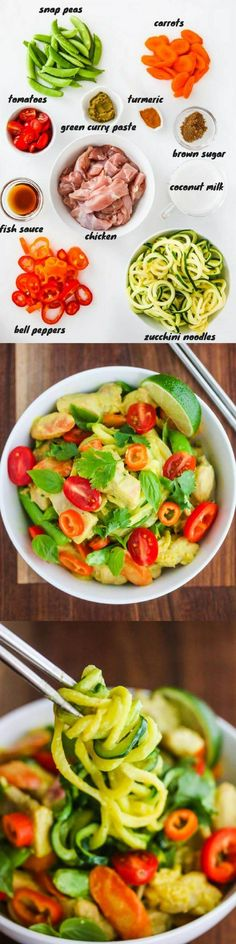 Thai Green Curry Chicken Zucchini Noodles - this easy dinner recipe takes less than 20 minutes to cook. Zucchini noodles are a low carb option for rice noodles. ~ http://jeanetteshealthyliving.com
