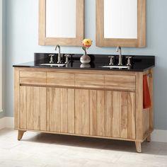 "60""+Antioch+Teak+Double+Vanity+for+Rectangular+Undermount+Sinks+-+Whitewash"