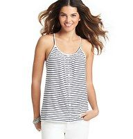 Striped Linen Halter Top - Done in a swingy silhouette for breezy allure, we love the laid back cute of this striped halter style. Halter neck. Sleeveless. Button front.