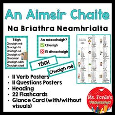 An Aimsir Chaite Briathra Neamhrialta by Ms Forde's Classroom   Teachers Pay Teachers Irregular Verbs, Grammar, No Response, Ms, Classroom, This Or That Questions, Class Room