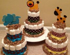 winnie the pooh safari baby shower | Jungle Safari Diaper Cakes f or Baby Shower Centerpiece or New Baby ...