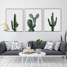 Nordic Watercolor Green Cactus Plant Poster Print Hipster Floral Wall Art Picture Modern Home Deco Canvas Painting