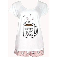 FOREVER 21 Coffee Lover PJ Set ($13) ❤ liked on Polyvore featuring intimates, sleepwear, pajamas, pijamas, pyjamas, sleep, pjs, short sleeve pajama set, short sleeve pajamas and forever 21 pjs