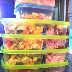 No cook camping: Precook meals & portion out into divided lunchbox containers or bentos. Great time saver for camping with toddlers & infants!  (pic is of crocpot ham & pasta salad)