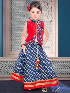 Red Blue Classy Silk Lehenga Choli