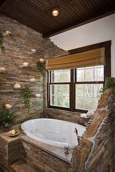Master Bathroom Photos, Log Home Bathroom, Luxury Master Bathroom Log Home Bathrooms, Luxury Master Bathrooms, Dream Bathrooms, Cabin Homes, Log Homes, Stone Bathroom, Stone Bathtub, Nature Bathroom, Bathroom Candles