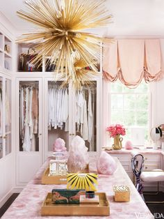 Youthful Atlanta Home Renovation A dressing room is bathed in pale pinks. The custom cabinetry has hardware from the Matthew Quinn Collection; Dressing Room Closet, Dressing Room Design, Dressing Rooms, Dressing Area, Pink Closet, Glam Closet, Pink Wardrobe, Wardrobe Ideas, Veranda Magazine