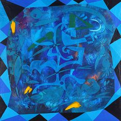 Night Swimming. By Alice Boyle. Acrylic and Plaster on Hardboard. Blue, Abstract, Artist, Surreal, Alice Boyle, Painting.