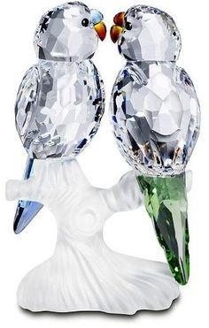 Swarovski Budgies Crystal. Swarovski Crystal Figurine. by AKA.Steph.Hale