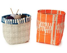 Uncommon Goods Canvas Storage Bins. Love these bright colors and patterns