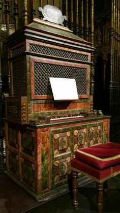 Gorgeous small organ in the Toledo Cathedral, Spain. Looks uncomfortable to play as there is no obvious place to put your legs!