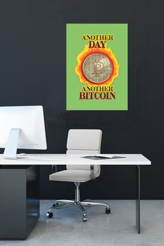 """""""Another day, another bitcoin."""" Back in the day, the saying was """"another day, another dollar."""" Show your bitcoin savvy—whether your stash is flaming hot or goes up in flames…we've got you covered. Ultra Quirky gear for the coin-minded."""