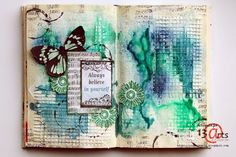 A challenge at 13 arts. Mixed Media Journal, Mixed Media Canvas, Mixed Media Art, Altered Canvas, Altered Book Art, Art Journal Inspiration, Art Inspo, Journal Ideas, Art Journal Pages