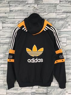 d36315d306c5 ADIDAS Jacket Windbreaker Medium Vintage 90 s Adidas Trefoil Big Logo Track  Top Sportswear Yellow Black Tracksuit Hoodie Jacket Size M
