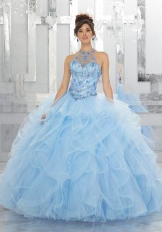 Rhinestone and Crystal Beading on a Flounced Tulle Ball Gown
