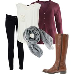 my template for my school outfits…skinny jeans,scarf,cardigan,leather boots - Women Fashion Purple Cardigan Outfits, Scarf Cardigan, Fall Outfits, Cute Outfits, Teaching Outfits, School Outfits, Outfit Sets, Autumn Winter Fashion, Skinny Jeans
