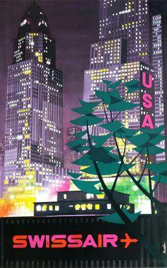 Original vintage poster SWISSAIR USA - Donald BRUN Year - Circa 1955 Printer - Printed in Switzerland Wolfsbergdruck Zürich Size - 40 x inches Restoration - Reference - on sale at Affiche Passi Retro Poster, Poster Art, Vintage Travel Posters, Vintage Ads, Poster Prints, Vintage Airline, Tourism Poster, Usa Tourism, Airline Travel