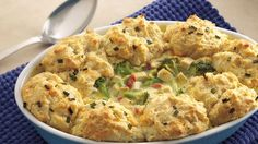 Here's a tummy-warming meal made conveniently with frozen veggies, cooked chicken and biscuit mix.  It's so easy!