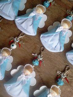 Anjos chaveiros lembrancinhas batizado by D'Pano Presentes